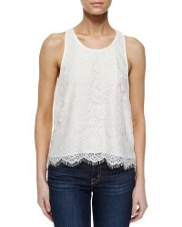 Madison Marcus Pleated-Back Lace Tank - Lyst