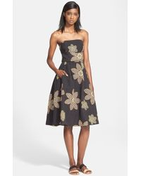 Tracy Reese Embroidered Strapless Fit & Flare Dress - Lyst