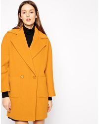 Helene Berman Two Button Cozy Coat yellow - Lyst