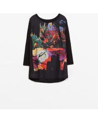 Zara Combined Linen T-shirt - Lyst