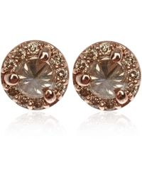 Anna Sheffield - Tiny Rose Gold Champagne Diamond Rosette Stud Earrings - Lyst