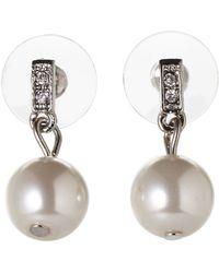 Anne Klein Accented Faux Pearl Earrings - Lyst