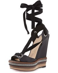 Christian louboutin Trepi 140mm Patent-leather Wedge Sandals in ...