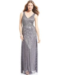 Adrianna Papell Sleeveless Beaded Vneck Gown - Lyst