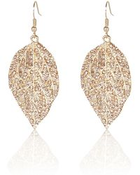 River Island - Gold Tone Diamante Leaf Drop Earrings - Lyst