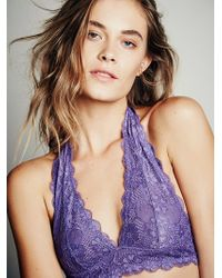 Free People Galloon Lace Halter Bra - Lyst