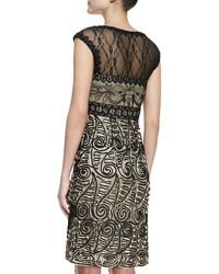 Sue Wong Capsleeve Paisleypattern Cocktail Dress Blacknude - Lyst