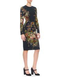 Dolce & Gabbana Longsleeve Floral Keyprint Dress - Lyst