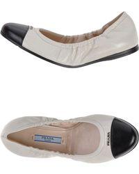 Prada White Ballet Flats - Lyst