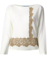 Blumarine Floral Lace Detail Sweater - Lyst