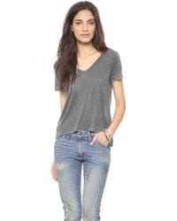 Enza Costa Reverse Hilo Top Heather Grey - Lyst