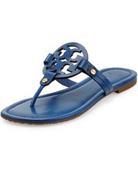 Tory Burch Miller Leather Logo Thong Sandal - Lyst