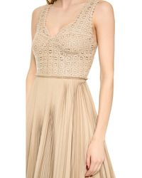 Catherine Malandrino Pleated Lace Detail Dress Sand - Lyst