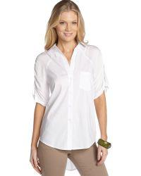 BCBGMAXAZRIA White Stretch Cotton Blend Ruched Sleeve Boyfriend Shirt - Lyst