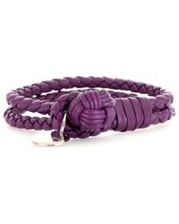 Bottega Veneta Knot Woven Leather Bracelet purple - Lyst