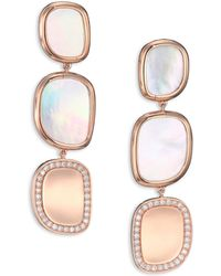 Roberto Coin Mother-Of-Pearl, Diamond & 18K Rose Gold Drop Earrings pink - Lyst