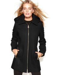 Michael Kors Michael Petite Hooded Zip-front Wool-blend Coat - Lyst