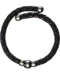Black.co.uk - Oberon Tahitian Black Pearl, Silver And Leather Bracelet - Lyst