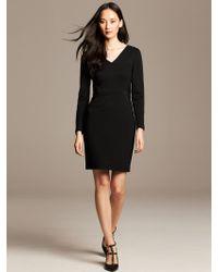 Banana Republic Faux Leather Inset Dress Br Black - Lyst
