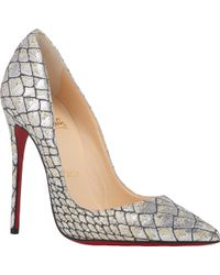 Christian Louboutin Croc-Effect So Kate Pumps - Lyst