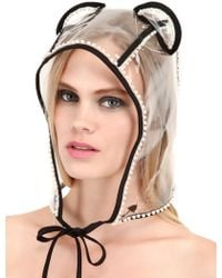 Maison Michel Lara Bear Ears Rain Hat with Bead Trim - Lyst