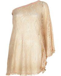 River Island Pink Foiled Lace One Shoulder Dress - Lyst