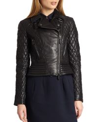 Burberry Brit Quilted Leather Biker Jacket - Lyst
