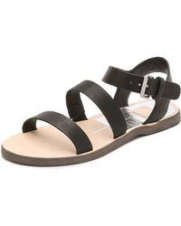 Dolce Vita Veya Flat Sandals - Black - Lyst