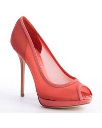 Dior Coral Mesh Textile Trimmed Platform Peep Toe Pumps - Lyst
