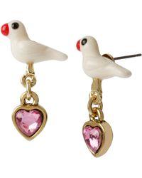 Betsey Johnson Dove And Heart Drop Earrings - Lyst