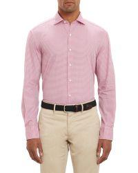 Barneys New York Check Shirt red - Lyst