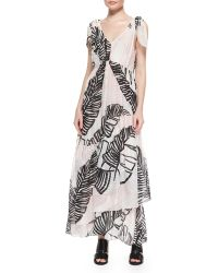 Thakoon Addition Printed Tie-Shoulder Maxi Dress - Lyst