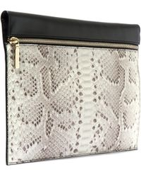 Victoria Beckham - Large Black And White Python Leather Pouch - Lyst