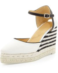 Carolina Herrera Canvas Stripedwedge Espadrille Ivoryblack - Lyst