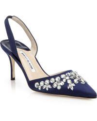 Manolo Blahnik Carolyne Crystal-Embellished Satin Slingback Pumps blue - Lyst