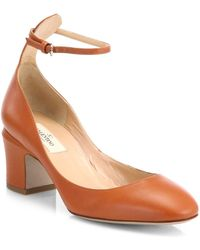 Valentino Tango Leather Pumps brown - Lyst