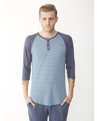 Alternative Apparel Basic Printed Raglan Henley Shirt - Lyst