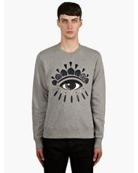Kenzo Mens Grey Embroidered Eye Sweatshirt - Lyst