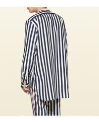 Gucci - Striped Silk Poplin Shirt - Lyst