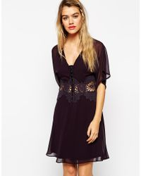 Asos Skater Dress With Lace Inserts And Kimono Sleeves - Lyst