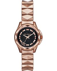 Karl Lagerfeld Karl 7 Rose Gold Tone Pyramid Link Bracelet Watch - Lyst