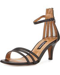 Kay Unger Adella Leather Multi-Strap Sandal black - Lyst