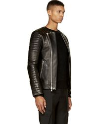Balmain Black Leather Ribbed Biker Jacket - Lyst