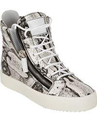 Giuseppe Zanotti Snakeskin-Print Leather High-Top Sneaker - Lyst