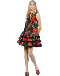 Dolce & Gabbana Floral Print Stretch Cotton Poplin Dress - Lyst