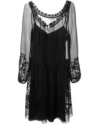 Alberta Ferretti Sheer Lace Detail Dress - Lyst