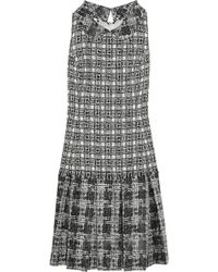 Oscar de la Renta Bouclétweed and Silkblend Chiffon Dress - Lyst