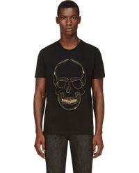 Alexander McQueen Black Embroidered Zipper Skull T_shirt - Lyst