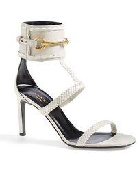 Gucci 'Ursula' Braided T-Strap Sandal white - Lyst