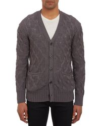 John Varvatos Marled Cable Knit Cardigan - Lyst